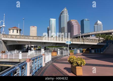 Riverwalk in front of Tampa skyline, Florida, USA - Stock Photo