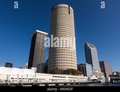 Tampa skyline CBD skyscrapers and Riverwalk, Florida, USA - Stock Photo