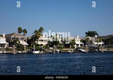 Tampa Bay luxury riverside houses, Florida, USA - Stock Photo