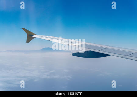 Teide viewed from an airplane - Stock Photo