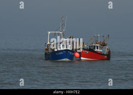 Fishing boats in Whistable Harbour Kent England - Stock Photo