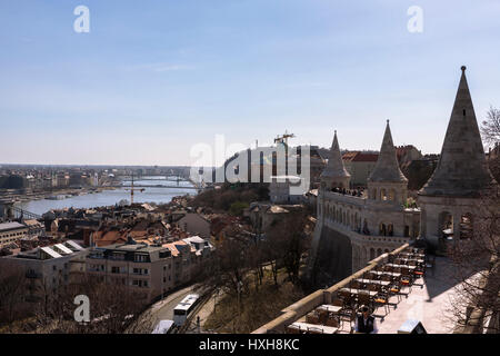 The Danube and Castle Hill, seen from the Fishermen's Bastion, Budapest, Hungary - Stock Photo