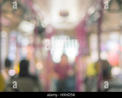 Abstract blur bokeh people on bus transportation - Stock Photo