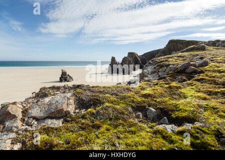 Garry Beach, North Tolsta, Isle of Lewis, Western Isles, Outer Hebrides, Scotland, United Kingdom - Stock Photo