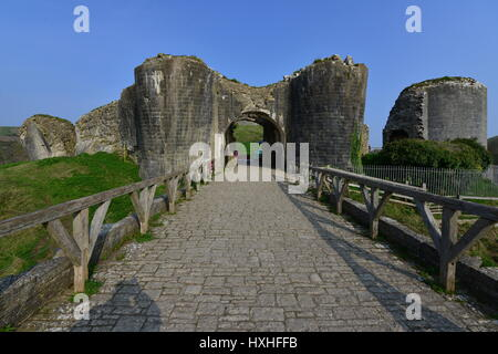 The ruins of Corfe castle on a spring morning in March - Stock Photo