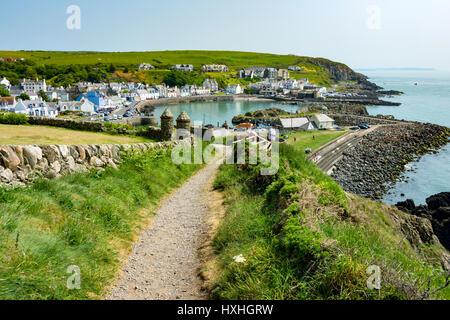Coast path above Portpatrick, Dumfries and Galloway, Scotland, UK - Stock Photo