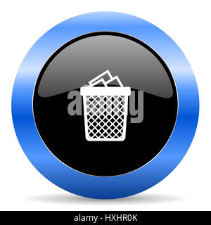 Trash can black and blue web design round internet icon with shadow on white background. - Stock Photo
