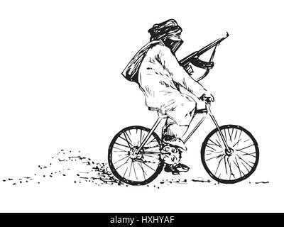 Terrorist with a gun with the face covered riding a bicycle, black and white isolated hand drawn vector illustration - Stock Photo
