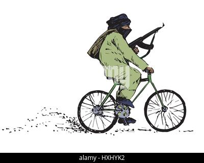 Terrorist with a gun with the face covered riding a bicycle, color isolated hand drawn vector illustration in ink - Stock Photo