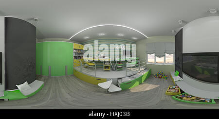 3d illustration of the interior design of the children's room in green and yellow colors. Render is executed, 360 - Stock Photo