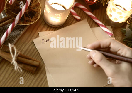 hand writing Christmas - Stock Photo