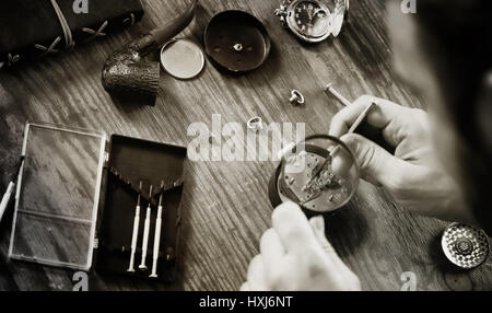 watch clock repair retro concept working hard in a past - Stock Photo
