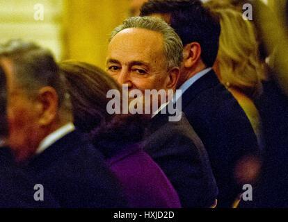 Washington, USA. 28th Mar, 2017. United States Senate Minority Leader Chuck Schumer (Democrat of New York) attends - Stock Photo