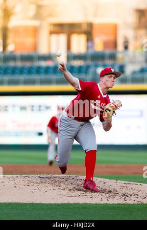 Charlotte, NC, USA. 28th Mar, 2017. NC State pitcher Michael Bienlien (26) starts the NCAA Baseball matchup at BB&T - Stock Photo