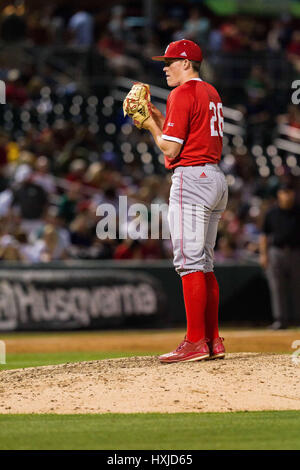 Charlotte, NC, USA. 28th Mar, 2017. NC State pitcher Michael Bienlien (26) in the NCAA Baseball matchup at BB&T - Stock Photo