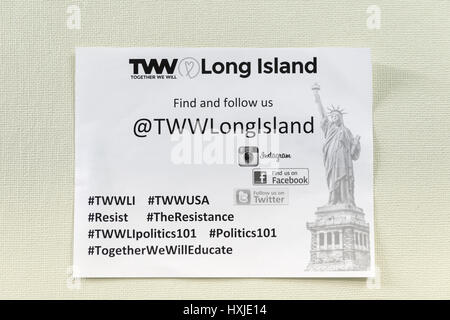 Wyandanch, New York, USA. 26th Mar, 2017. Flier for TWW Long Island is posted on meeting place wall for Politics - Stock Photo