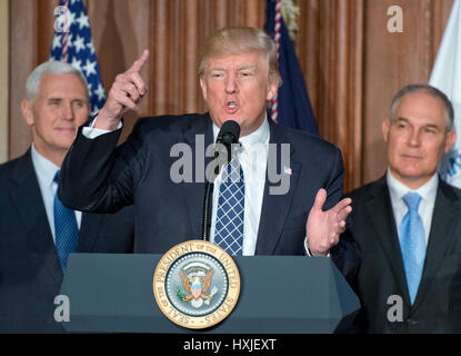 United States President Donald J. Trump makes remarks prior to signing an Energy Independence Executive Order at - Stock Photo