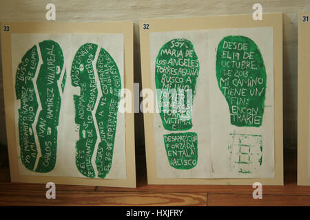 London, UK. 29th Mar, 2017.  Foot prints of Memory,message on Footprint on the right reads, 'I am Maria  de Los - Stock Photo