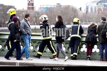 London, UK. 29th Mar, 2017. Emergency services on Westminster Bridge today after a reported incident just before - Stock Photo