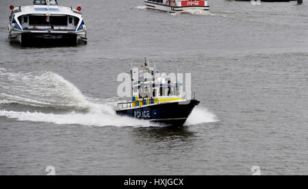 London, UK. 29th Mar, 2017. The Police river patrol by Westminster Bridge today after a reported incident just before - Stock Photo