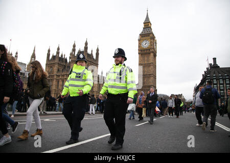 Westminster Bridge. London, UK. 29th Mar, 2017. Colleagues of PC Keith Palmer, who was killed by the terrorist attack - Stock Photo