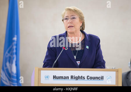 Geneva, Switzerland. 29th Mar, 2017. Chilean President Michelle Bachelet delivers a speech in a special session - Stock Photo