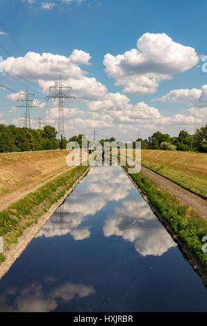 The river Emscher by Essen, Germany - Stock Photo