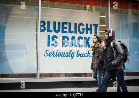 Bluelight is back at a KMart store in New York on Friday, March 24, 2017. The embattled Sears Holdings, the owner - Stock Photo