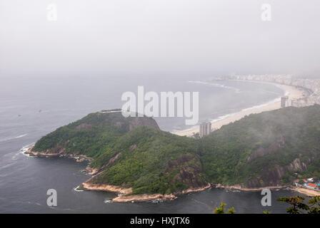 Copacabana Beach as seen from Sugarloaf Mountain - Rio de Janeiro - Brazil - December 19th 2013 - Stock Photo