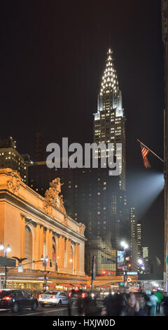 NYC streets at night. Midtown Manhattan - 42nd Street with Grand Central Terminal and Chrysler Building. - Stock Photo