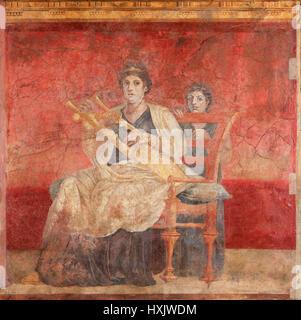 Wall Painting from the Villa Boscoreale, Italy, ca. 50-40 B.C. - Stock Photo