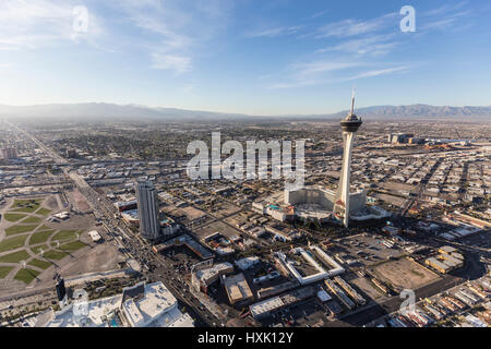 Las Vegas, Nevada, USA - March 13, 2017:  Aerial view of casino resorts along the Las Vegas Strip in Southern Nevada. - Stock Photo