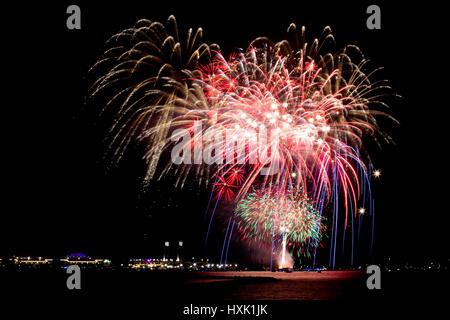 Fireworks over Navy Pier, Chicago - Stock Photo