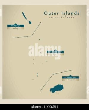 Modern Map - Outer Islands of Mauritius details MU - Stock Photo