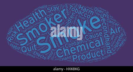 The Hazards of Secondhand Smoke text background wordcloud concept - Stock Photo