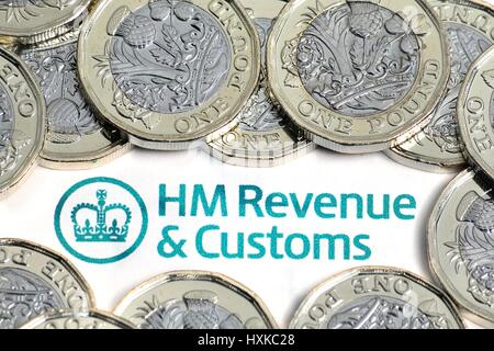 HMRC & New Pound Coins - Stock Photo