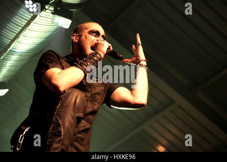 Engine Rooms, Hampshire, 21st February 2017,  UK  Samuel Nyman performing with Swedish heavy metal band Manimal - Stock Photo