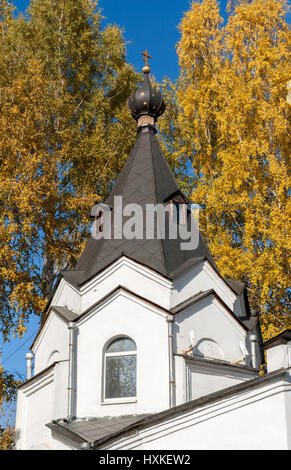 Dome Chapel  near All Saints Church on yellow autumn trees background in clear day. Ekaterinburg, Russia. - Stock Photo