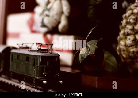 train retro toned model - Stock Photo
