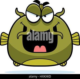 A cartoon illustration of an evil looking catfish. - Stock Photo