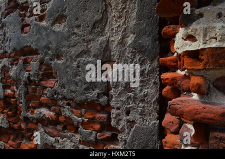 The Abandoned brick wall in the city of curse. This place is called danushkodi - Stock Photo