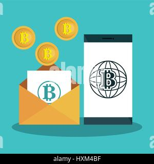 bitcoins trading flat icons - Stock Photo