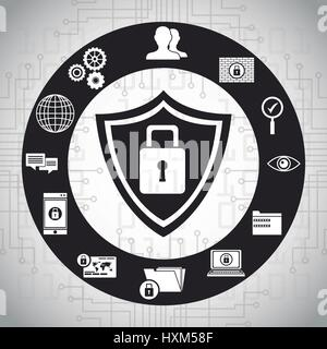 technology shield protection network system - Stock Photo