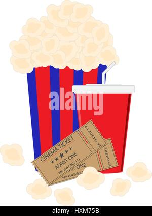 Abstract Flat Background with Old Style Ticket, Big Pop Corn and paper cup template for soda Icons. Vector Illustration - Stock Photo