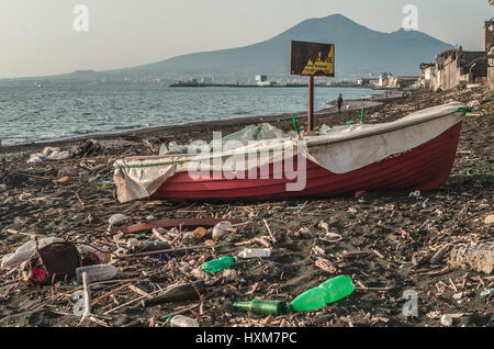 garbage and wastes on the beach - Stock Photo