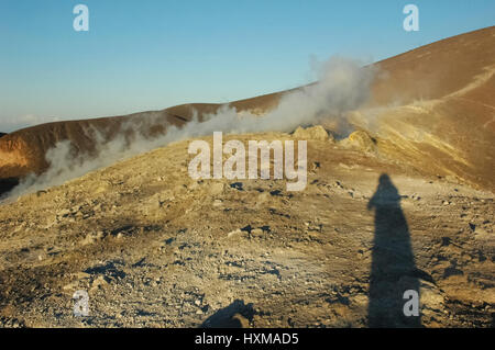 The fumaroles on the crater of the volcano - Stock Photo