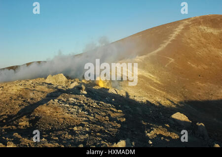 The fumaroles on the top of the volcano - Stock Photo