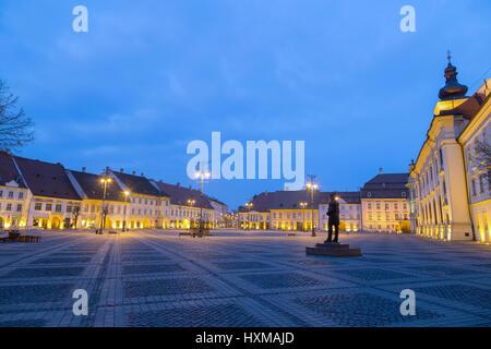 Sibiu, Romania at blue hour - Stock Photo
