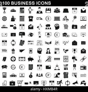 100 business icons set, simple style - Stock Photo