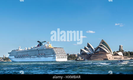 Carnival Spirit Cruise is leaving Sydney harbor, Australia - Stock Photo